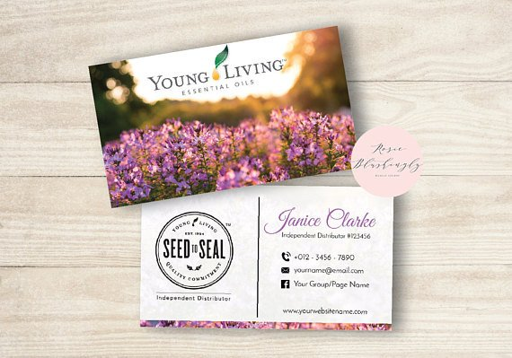 Young Living Business Card Template Young Living Essential Oils Business Card Digital Design