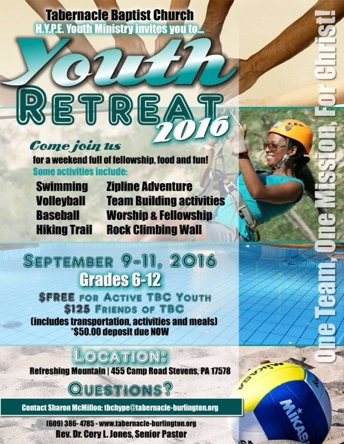 Youth Retreat Flyers Tabernacle Baptist Church