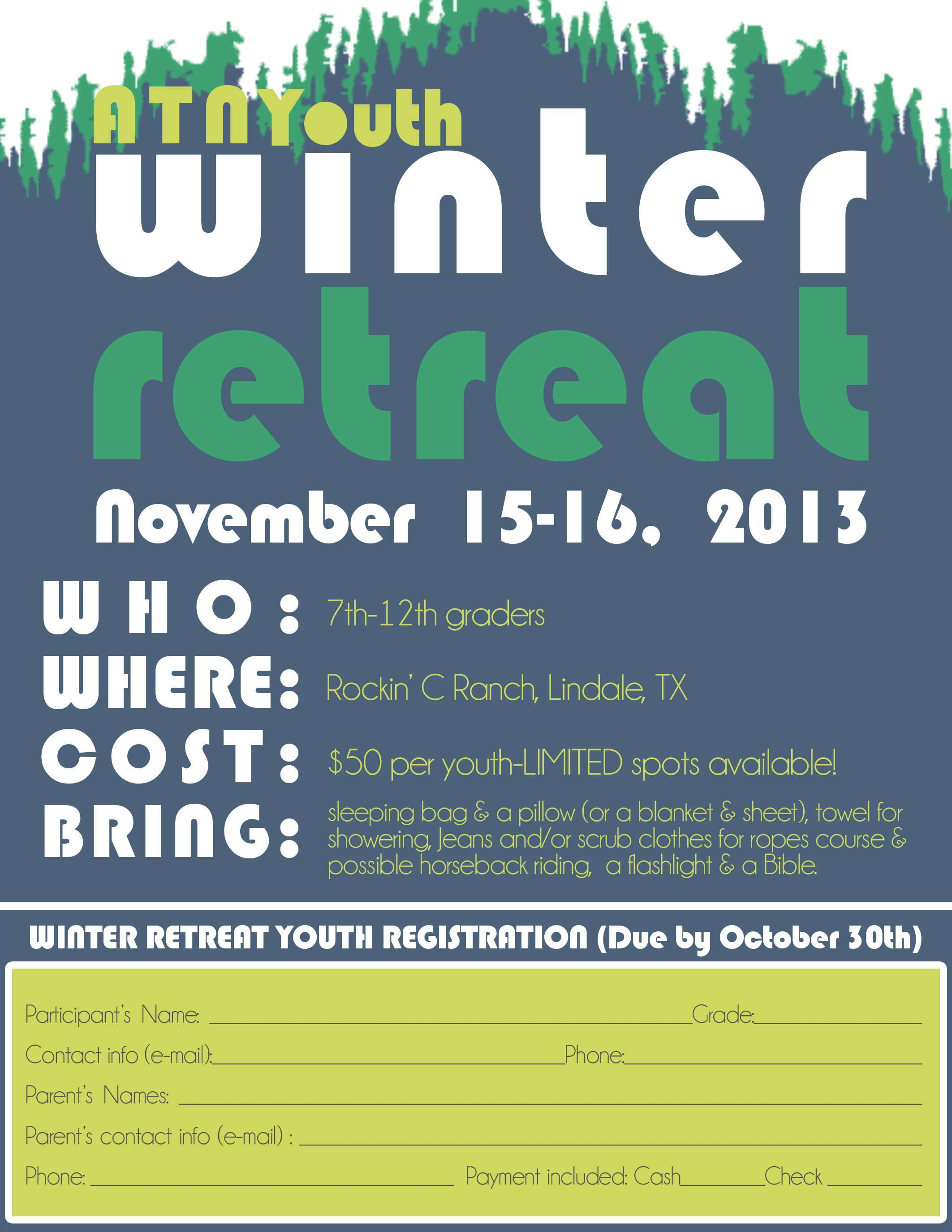 Youth Retreat Flyers Winter Retreat Registration 2013