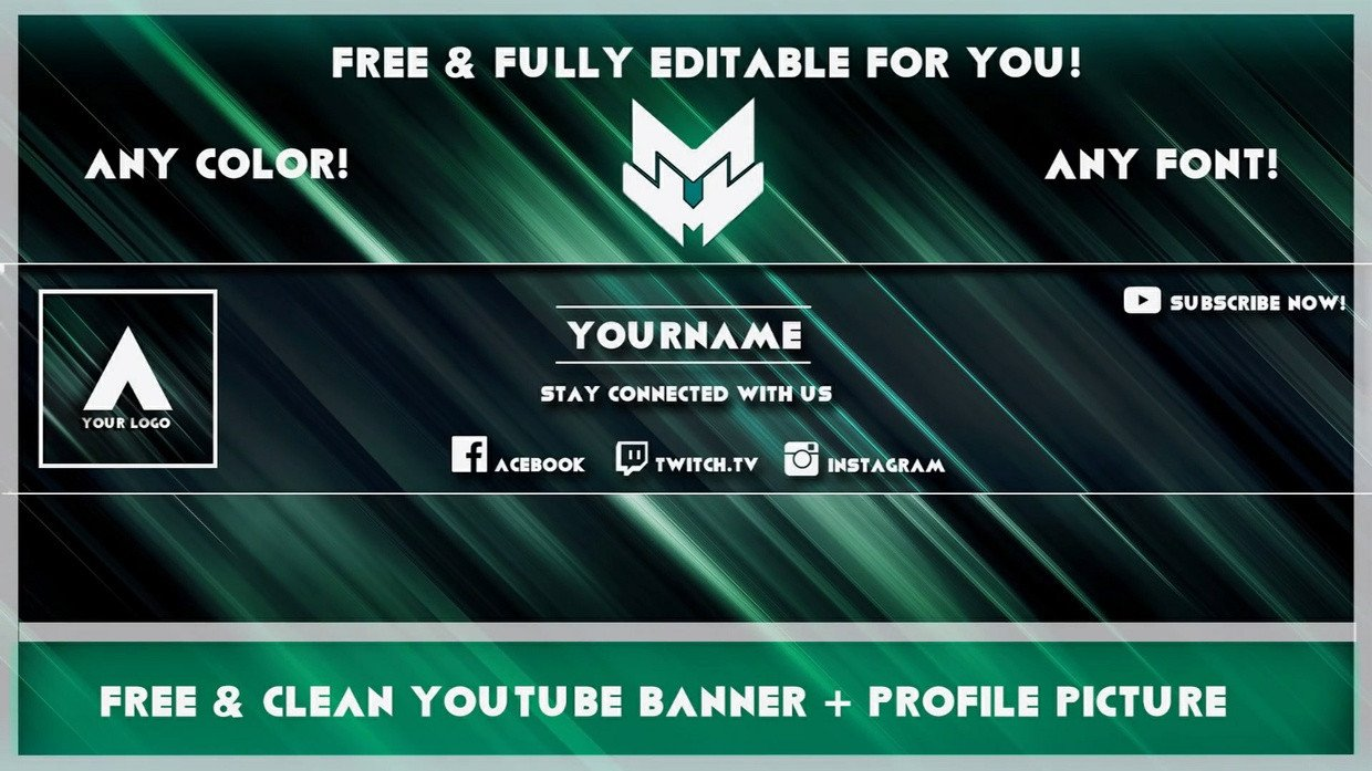 Youtube Banner Template Photoshop Clean Banner Avatar Template Any Colour