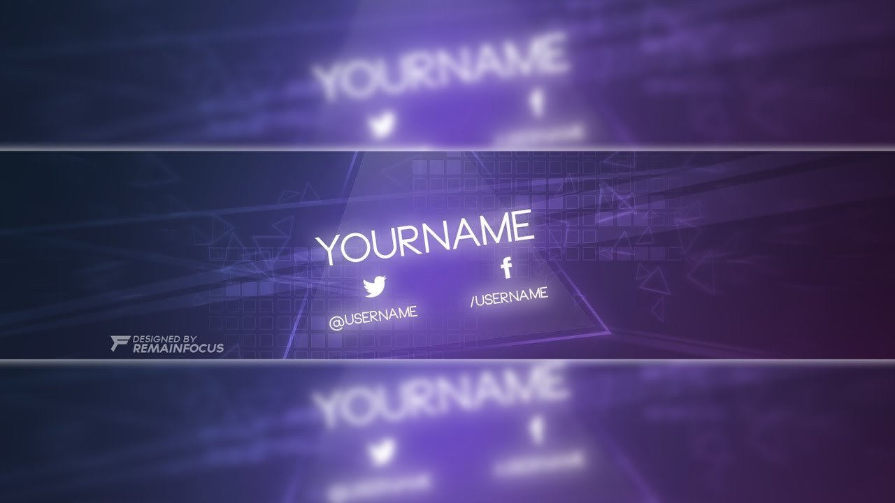 Youtube Banner Template Photoshop Glow themed Banner Template Psd 2017