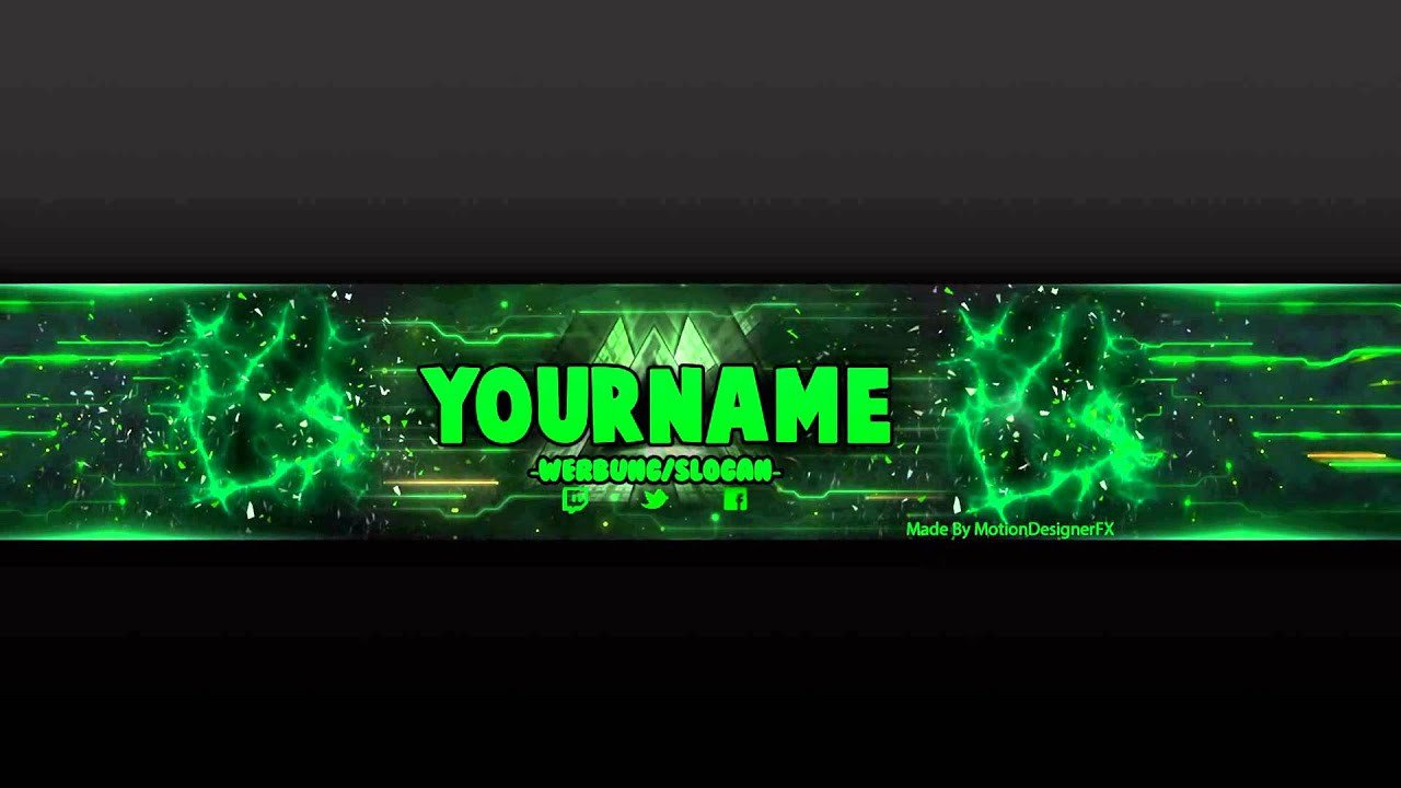 Youtube Banner Template Photoshop Youtube Banner Template Green Psd Shop
