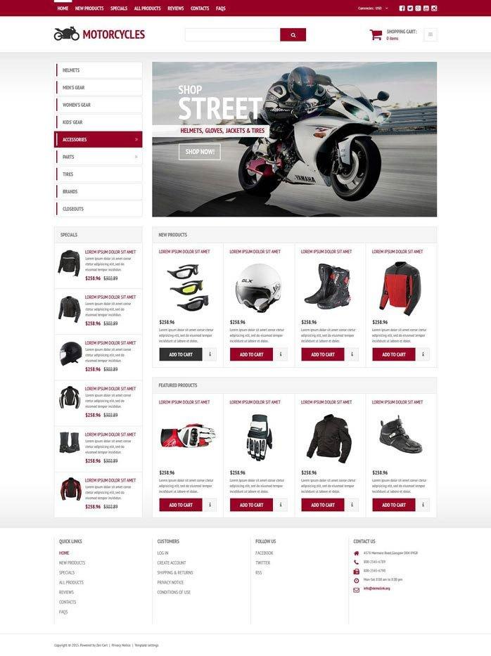 Zen Cart Templates Free Bike Store Responsive Zencart Template