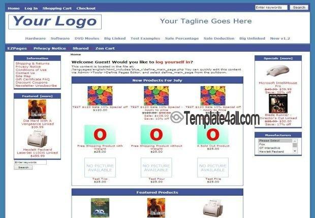 Zen Cart Templates Free Simple Responsive Blue Zen Cart Template